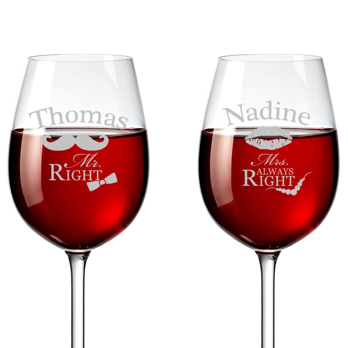 2 Leonardo Weingläser mit Gravur - Geschnek zur Hochzeit Wein-Glas ...
