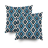 ROOLAYS Decorative Throw Square Pillow Case Cover 16X16Inch,Cotton Cushion Covers Abstract tribal art ethnic pattern Ikat Both Sides Printing Invisible Zipper Home Sofa Decor Sets 2 PCS Pillowcase