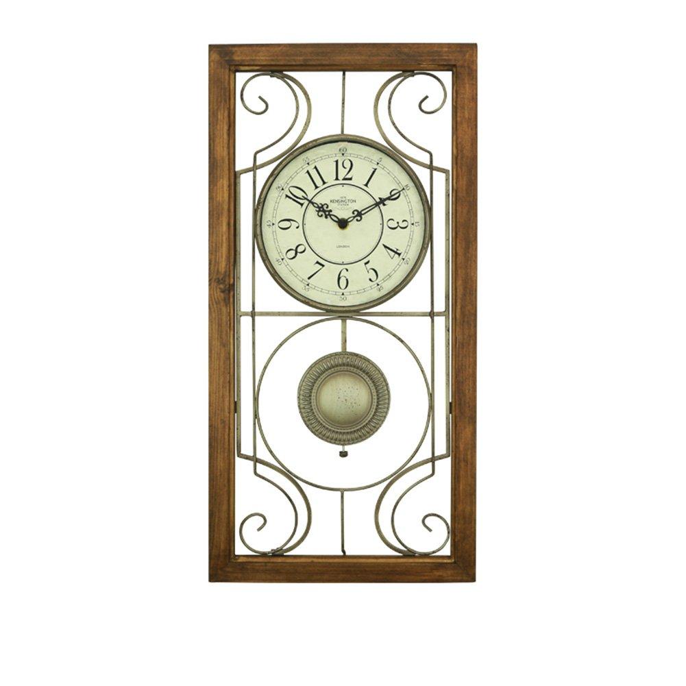 ソリッドウッドの壁時計、リビングルームの寝室レストランバーの壁時計の花屋アイアンアートの壁時計のサイズ61 * 30CM (色 : B) B07D2FHWG1 B B