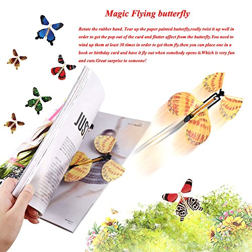beemean Magic Flying Butterfly Gift Cards - Wind Up Butterfly in The Book Fairy Toy Great Surprise Wedding (8PCS) by beemean (Image #4)