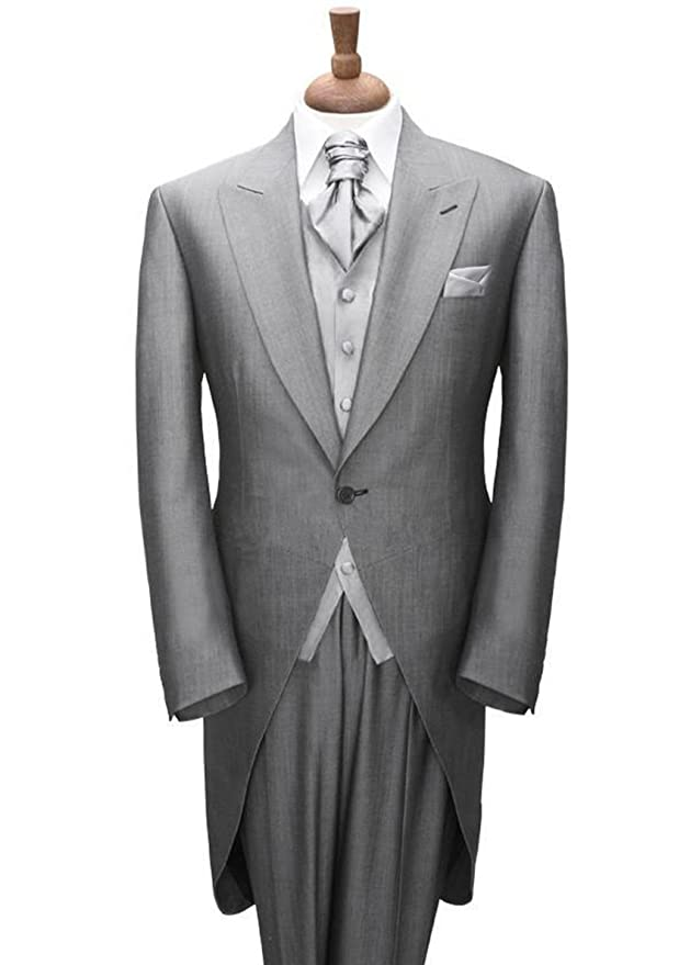 1920s Mens Evening Wear Step By Step Newdeve Morning Style Suits Light Gray Groom Tuxedos Groomsmen Men Wedding Suits Prom Clothing $175.00 AT vintagedancer.com