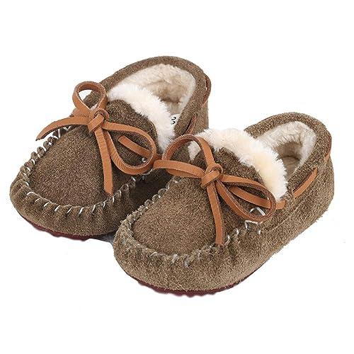 Mocasines para niños Zapatos de Invierno Suede Upper (26 EU, marrón)