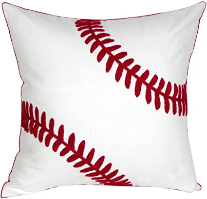 Decopow Embroidered Baseball Throw Pillow Covers Square 18 Inch Decorative Canvas Pillow Cover For Baseball Room Decor Cover Only Home Kitchen