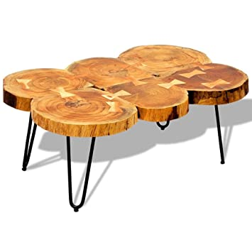 vidaXL Tavolino per caffè tavolino laterale in legno di sheesham 6 ...