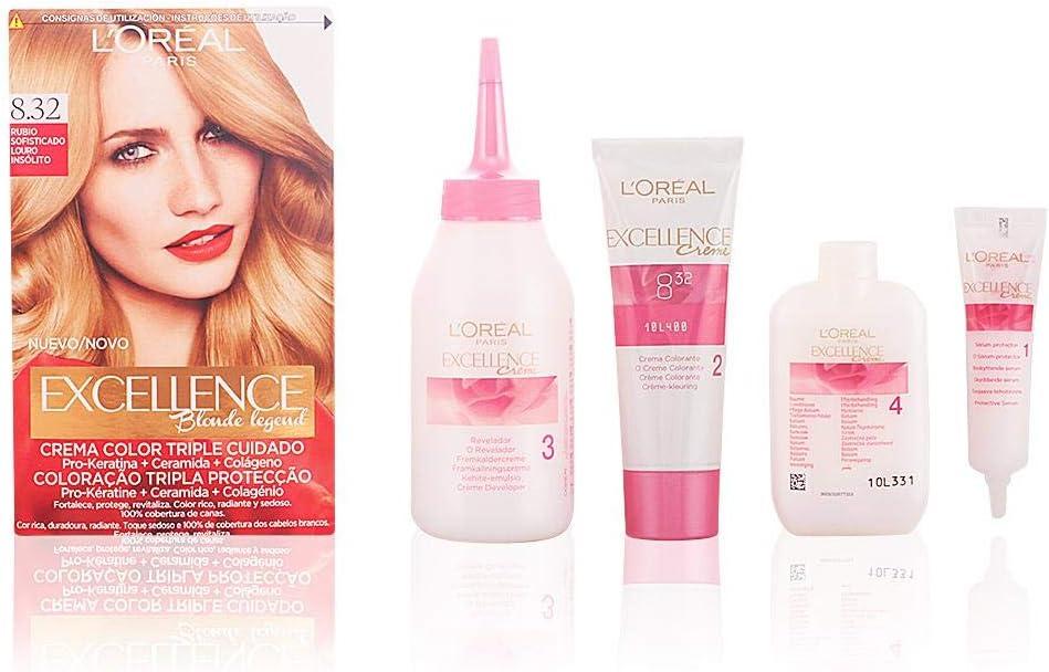 LOréal Paris Excellence Blonde Legend - Tinte, color 8,32 rubio sofisticado, 200 gr