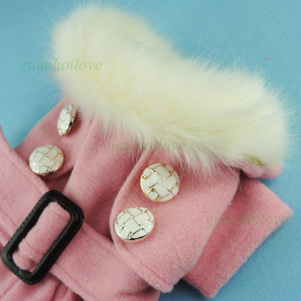 Fitwarm Noble Pink Woolen Pet Clothes for Dog Jackets Coat Dress, Small by Fitwarm (Image #2)