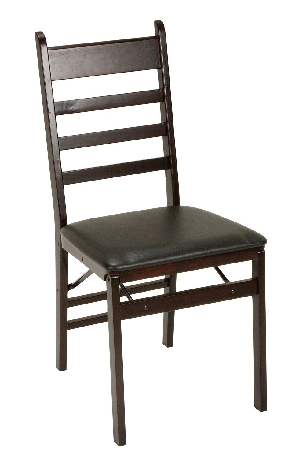 Merveilleux Cosco Espresso Wood Folding Chair With Vinyl Seat U0026 Ladder Back (2 Pack)