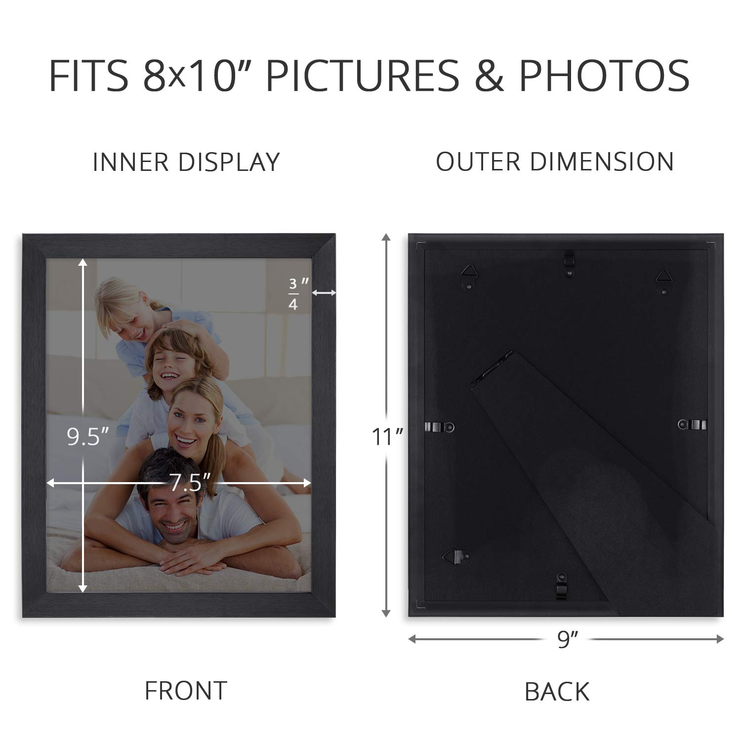Icona Bay 8x10 Picture Frame Pack (4 Pack, Black) 8 x 10 Frame, Tabletop and Wall Hang Hardware Included with Photo Frames, Impresia Collection by Icona Bay (Image #3)