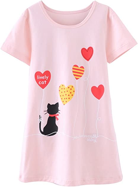 BAIYIXIN Little Girls New Sweet Heart Pattern Soft Cotton Nightgowns Pajamas Dress Sleepwear 3y-12y