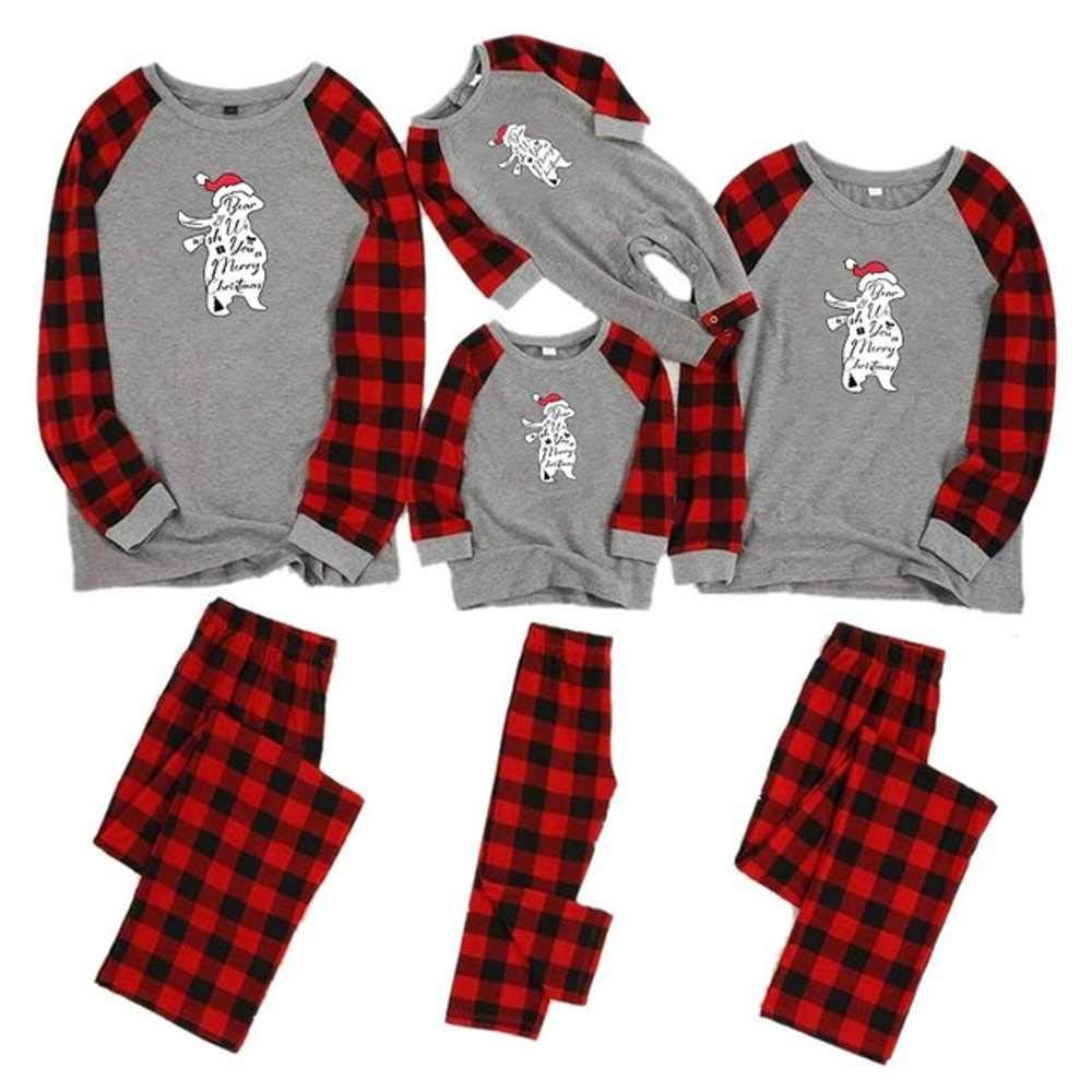 2019 Christmas Family Pajamas Set Mother Daughter Father Son Romper Sleepwear Mommy Baby Matching Outfits
