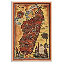"""Parisian Pictoral Map of MADAGASCAR by Maurice Tranchant circa 1952 - measures 24"""" wide x 36"""" high (610mm wide x 915mm high)"""