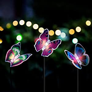 Butterfly Garden Solar Lights, 3 Pack Solar Stakes Lights Multi-Colors Changing LED Pathway Light, Decorative Fence, Outdoor Garden Lawn Christmas Ornaments