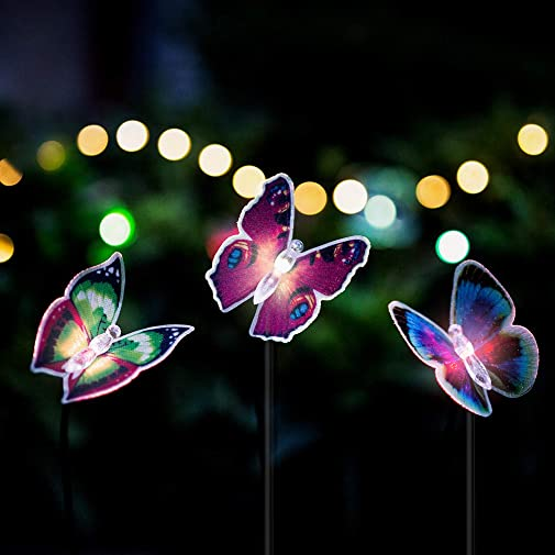 Butterfly Garden Solar Lights, 3 Pack Solar Stakes Lights Multi-Colors Changing LED Pathway Light, Decorative Fence, Outdoor Garden Lawn Ornaments