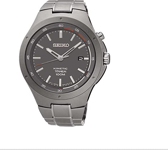Seiko Kinetic SKA713 Grey Dial Titanium Band Mens Watch by Seiko Watches