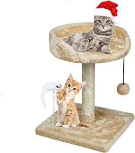 67i Cat Tree Cat Tower with Natural Sisal Scratching Posts Cat Activity Platform Furniture with Hanging Ball and Spring Plush Mouse Toys for Kitten Small Cats Climbing Playing