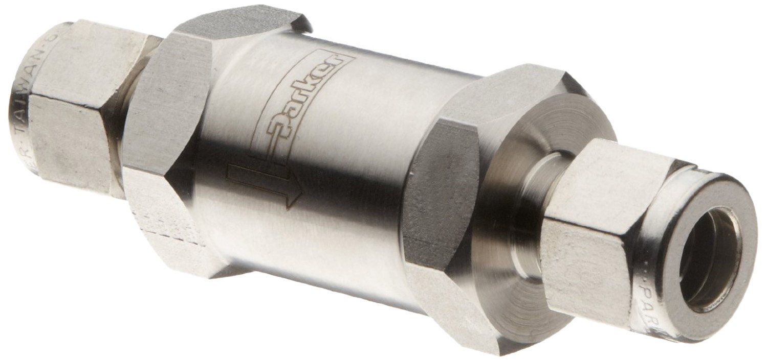 Parker F Series Stainless Steel 316 Instrumentation Filter, Inline, 5 Micron, 1'' A-Lok Compression Fitting