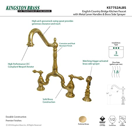 Kingston Brass Ks7752albs English Country Kitchen Faucet With Brass
