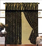 4 Pieces Satin Green/Black Flocking Zebra Pattern Window Curtain Drape Set