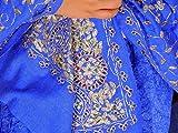 "NovaHaat Blue Zari Luxury Shawl - Wool Embroidered Beaded Kashmir Stole 78"""