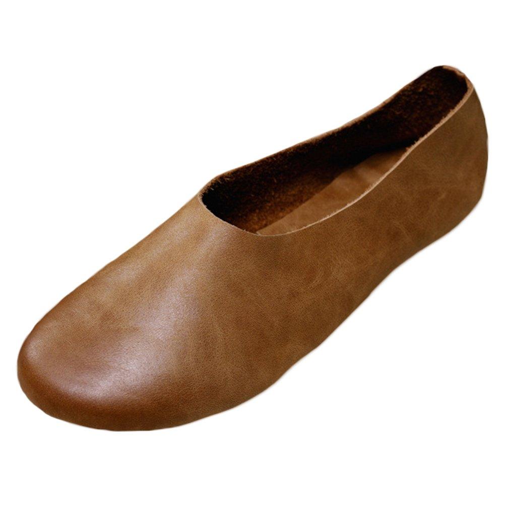 Vogstyle Damen Geschlossene Art Ballerinas klassische Lederschuhe Loafers Slip-Ons Art Geschlossene 1 Braun ed8346