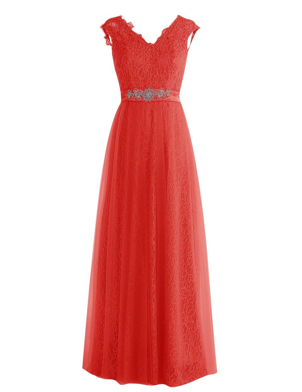 Dresstell レディーズ ロング丈 披露宴ドレス 結婚式ドレス 総レースのお呼ばれ フォーマルドレス キラキラビジュー付き ビスチェタイプ 編み上げの花嫁ワンピース 二次会ドレス ステージドレス B01LXW48FE JP17|レッド レッド JP17