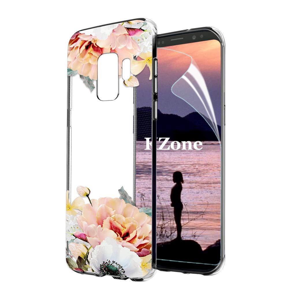 OKZone Galaxy S9 Hü lle [mit HD-Schutzfolie], [Blumen Series] Transparent Weiche Silikon Malerei Muster Hü lle TPU Bumper Case Blü hende Blumen Design Schutzhü lle fü r Samsung Galaxy S9 (Dunkelrot) OKZ-HX-FLORTPU-IX1017088