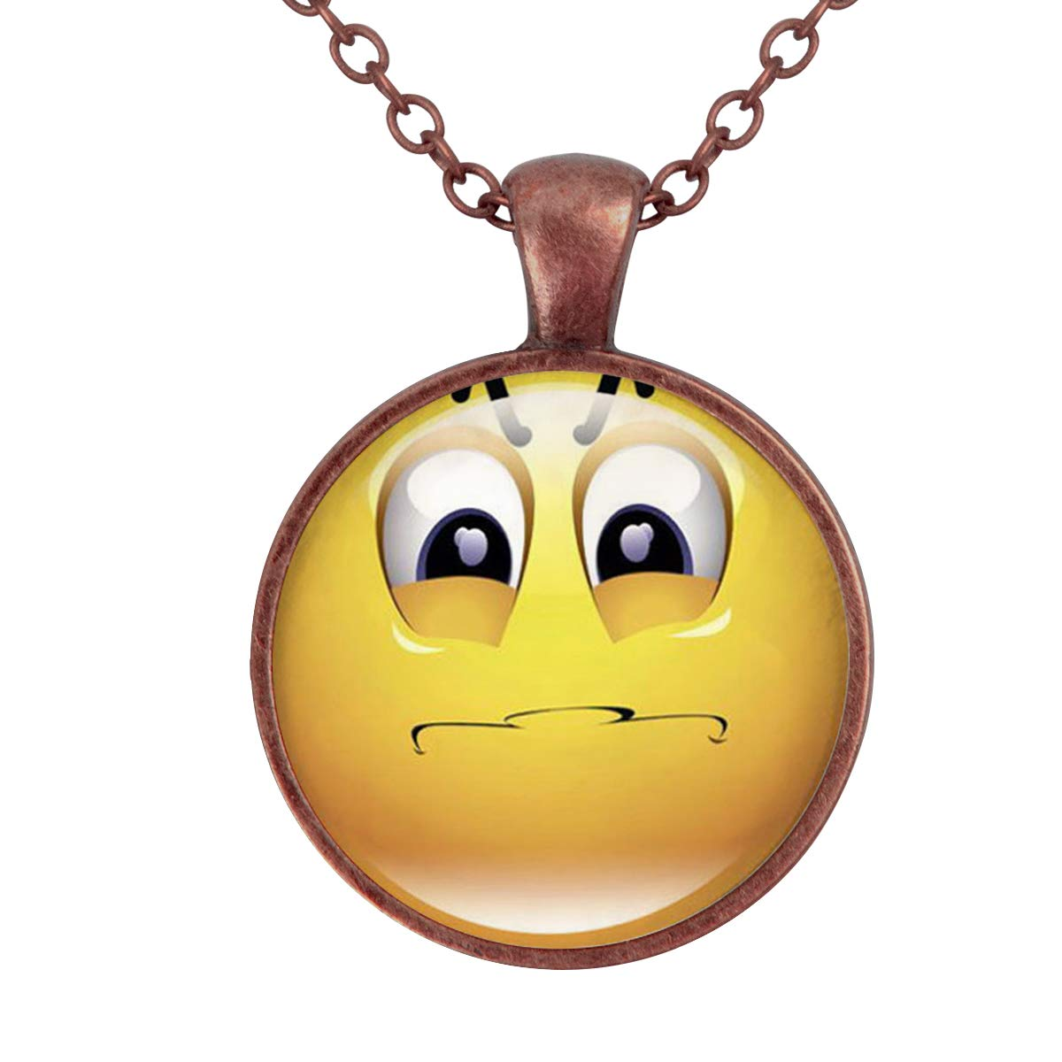 Family Decor Emoji Face Sad Pendant Necklace Cabochon Glass Vintage Bronze Chain Necklace Jewelry Handmade