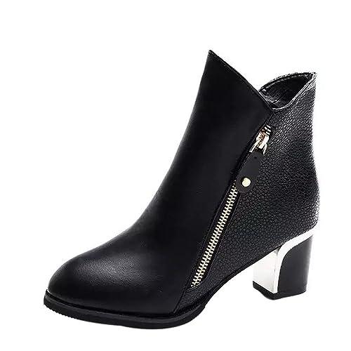 Logobeing Botas Mujer Invierno Botines Mujer Zapatos de Mujer Botines Cremallera Moda Zapatos Bajos Cuña Zapatos de Tacón: Amazon.es: Zapatos y complementos