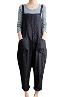 d79db82ddb Fasumava Womens Plus Size Cotton Linen Overalls Autumn Casual Solid  Jumpsuits
