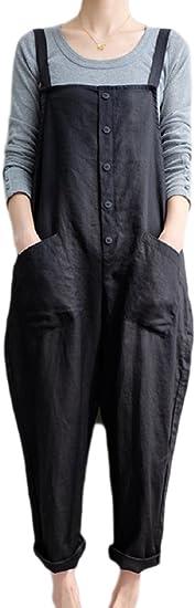 Fasumava Women Plus Size Cotton Linen Overalls Autumn Casual Solid Jumpsuits Amazon Ca Clothing Accessories