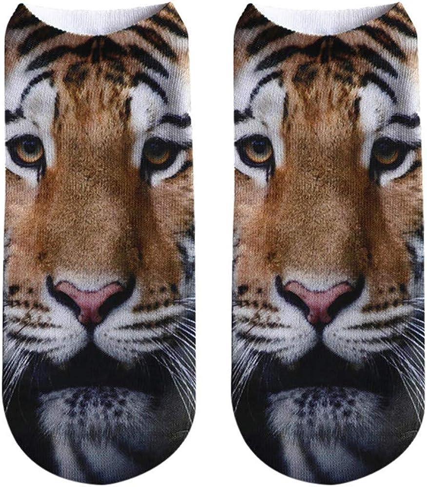 Women Men Children Cute 3D Tiger Lion Print Short Socks Unisex Casual Low Cut Anklet Socks Hanican