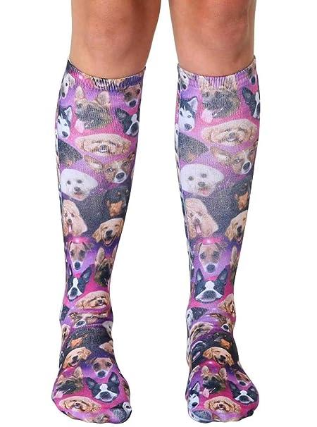 2cffe7747 Amazon.com  Living Royal Photo Print Knee High Socks  Galaxy Puppy ...
