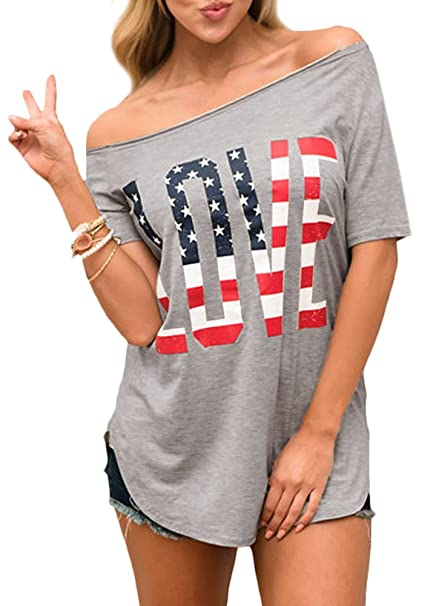 170c0e771864d0 Spadehill Women July 4th American Flag Print Love Graphic Top Off Shoulder  Summer Casual T Shirt