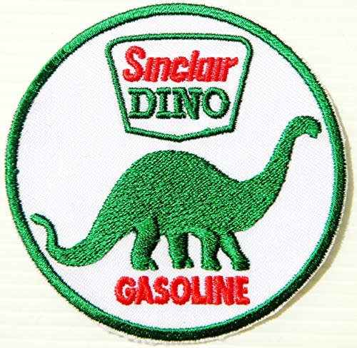Sinclair Dino Gasoline Vintage Advertising Motor Oil Gasoline Service Station Pump Logo Sign Racing Patch Iron on Applique Embroidered T Shirt Jacket ()