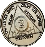 2 Month Bronze AA (Alcoholics Anonymous) - Sober / Sobriety / Birthday / Anniversary / Recovery / Medallion / Coin / Chip by Generic