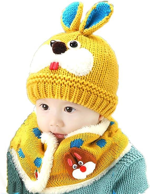 Conjunto de gorro de lana para bebé y niña, gorro de ganchillo ...