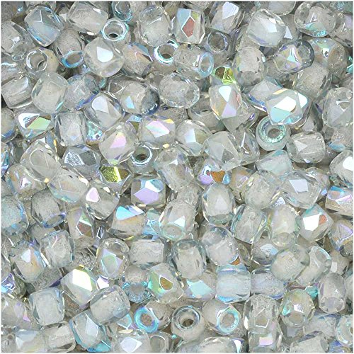 Czech Fire Polished Crystal 50 - True2 Czech Fire Polished Glass, Faceted Round Beads 2mm, 50 Pieces, Crystal Blue Rainbow