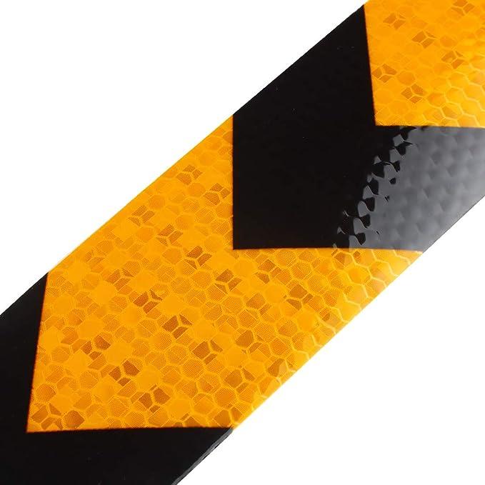 Negro y Dorado Larcele 5CM x 25M Reflectante Cinta Advertencia Autoadhesivo Pegatina de Seguridad,Flecha,FGJ-01