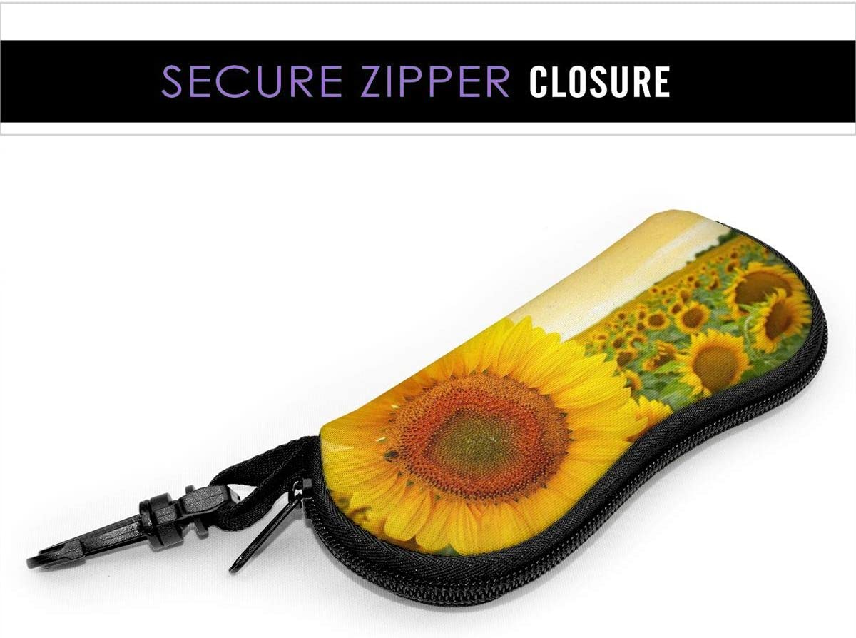DGEGJD5S Idyllic Sunflower Sunset Sunglasses with Lock Buckle Soft Bag Ultra Light Diving Fabric Zipper Glasses Case