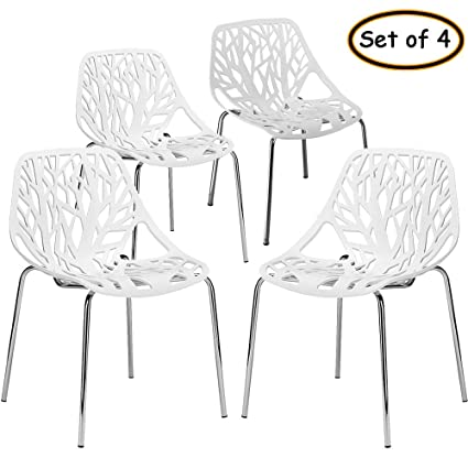 Awe Inspiring Bonnlo Modern Stackable Chair Set Of 4 Kitchen Dining Chair Birch Sapling Comfy Chairs For Indooroutdoor Use White Gmtry Best Dining Table And Chair Ideas Images Gmtryco