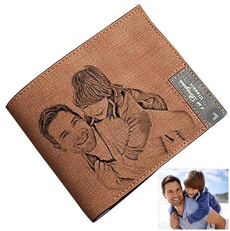 Cartera Billetera Personalizado de Foto Hombre Plegable Cuero Regalo para Familia Novio
