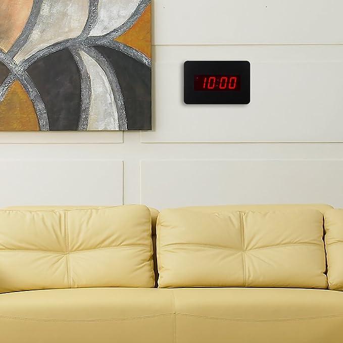 ChaoRong Reloj despertador con LED digital Reloj de pared solo para el dormitorio con batería (Negro)