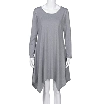 c60451e9310 Image Unavailable. Image not available for. Color  Hunzed Women Round Neck  Skirt  Women s Tunic Long Sleeves Casual Swing T-Shirt