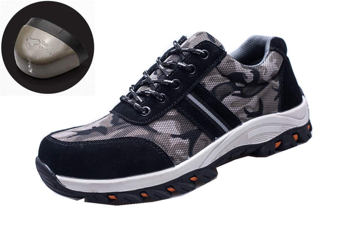 Beeagle Mens Womens Unisex Camo Steel Toe Work Shoes Industrial Construction Puncture Proof Safety Shoes Black-4 40