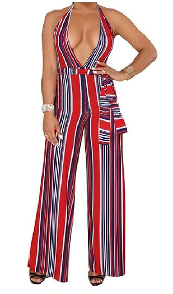XINHE Womens Strappy Low-Out Backless Striped Wide Leg Jumpsuit Romper AS2 XS