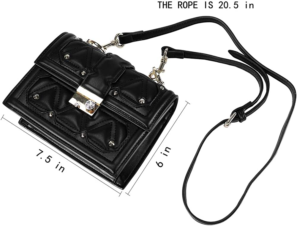 PU Leather Rivet Women Crossbody Quilted Shoulder Bag Purse with Colorful Wide Strap and Adjustable Long Strap,black