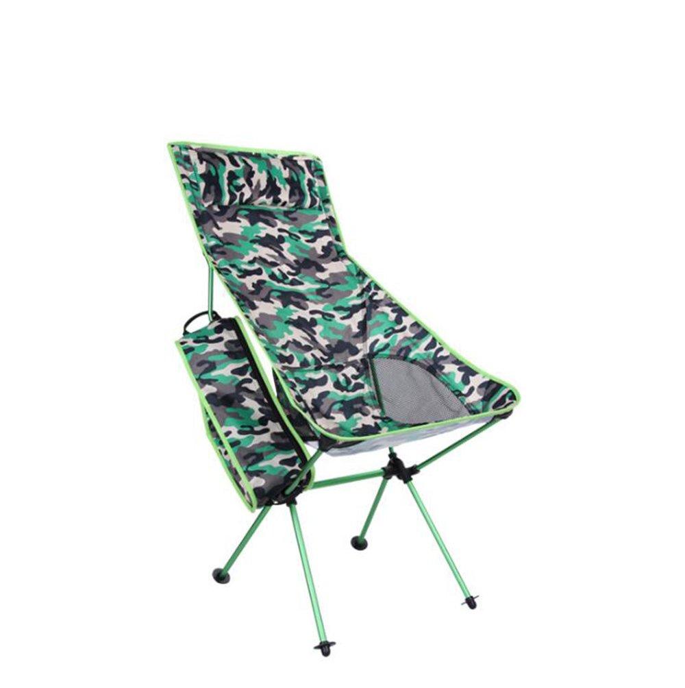 ZH Folding Camp Chair, Outdoor-Aluminium-Legierung Camouflage Klappstuhl Multi-Funktions-Berg Camping Freizeit Stuhl (Farbe : Grün)