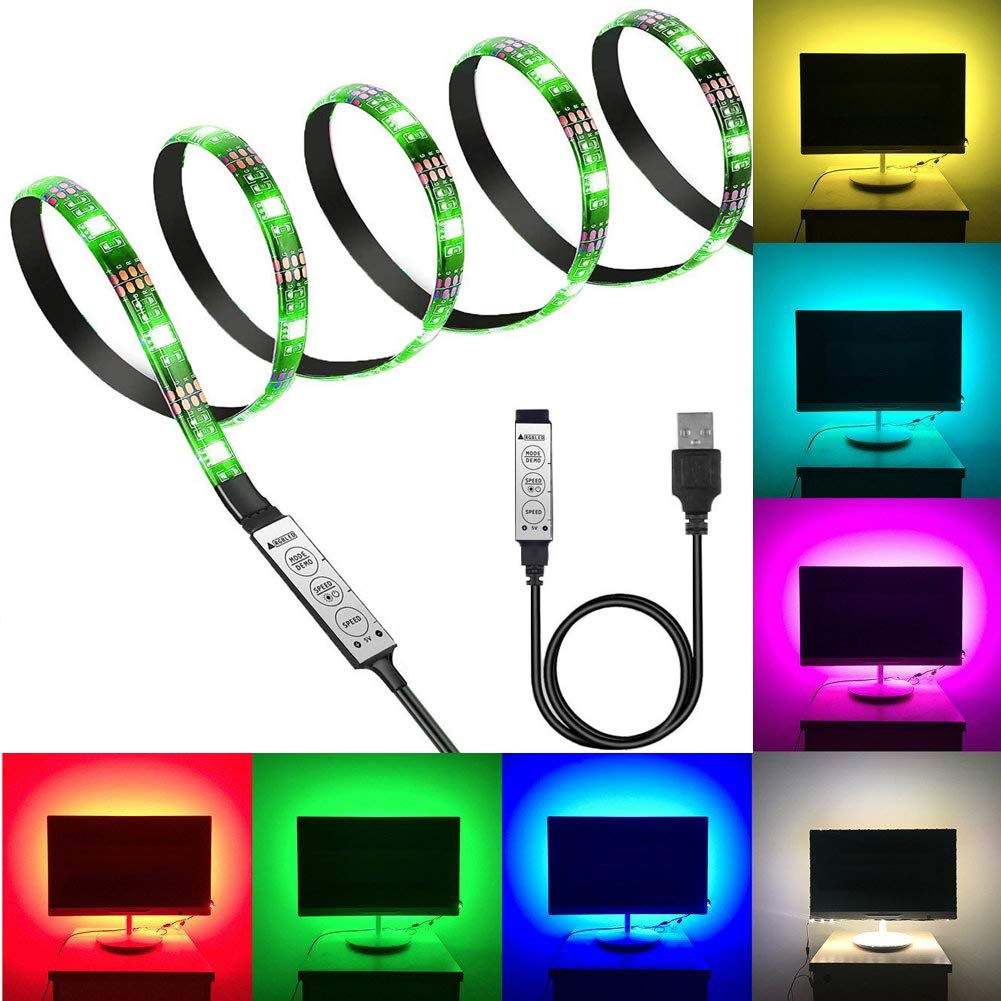Black PCB TV Backlight Kit,Computer Case LED Light,eTopxizu 3.28Ft Multi-Colour 30leds Flexible 5050 RGB USB LED Strip Light