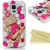 S5 Case,Samsung Galaxy S5 Case - Mavis's Diary 3D Handmade Bling Crystal Fashion Cute Little High Heels and Bag with Shiny Pink Diamond Pearl Flower Hard Cover White Case for Samsung Galaxy S5 I9600 SM-G901 with Soft Clean Cloth