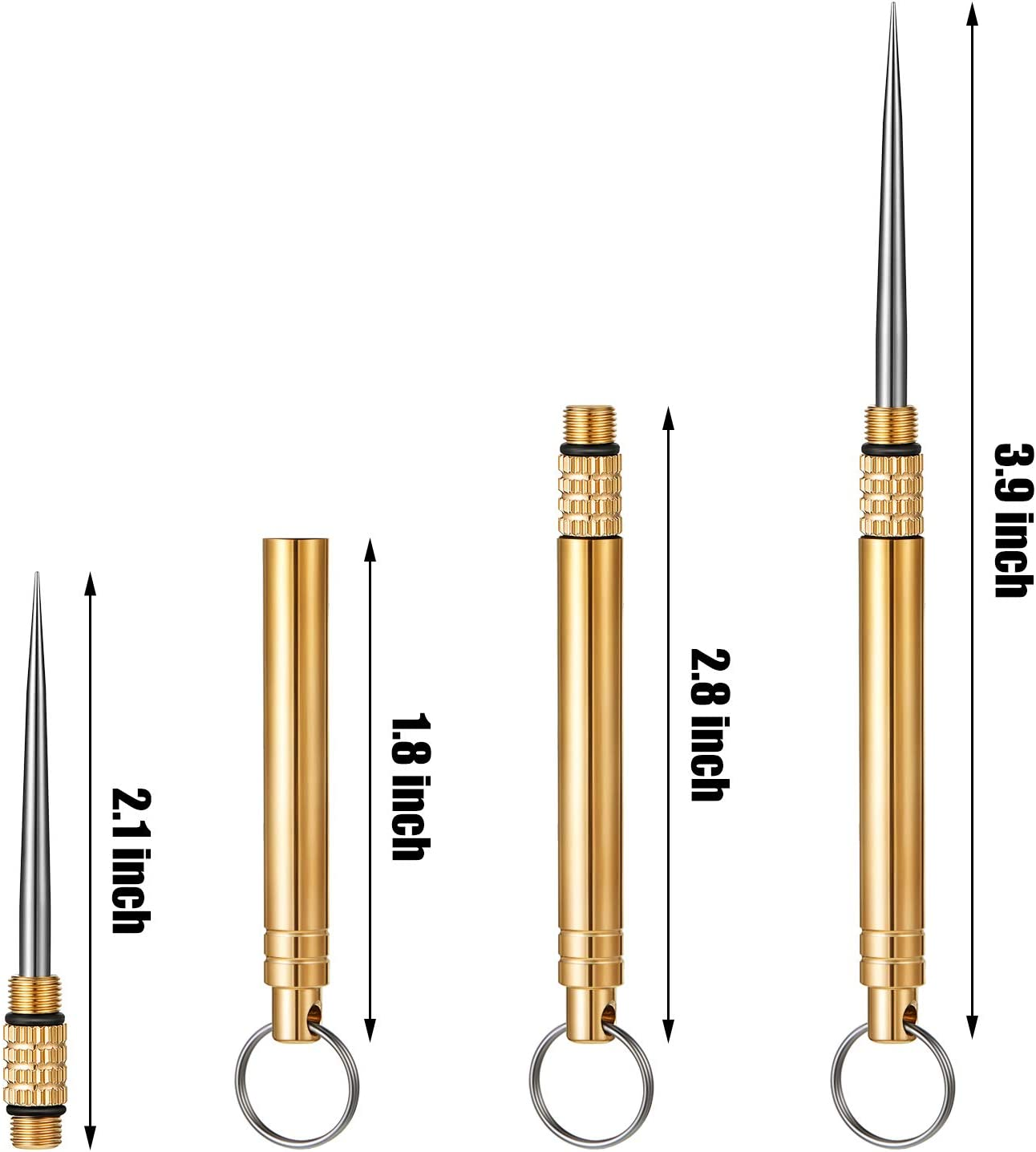 5 Pieces Portable Titanium Toothpicks Brass Pocket Toothpicks with Metal Toothpick Holder for Outdoor Picnic Camping Accessories
